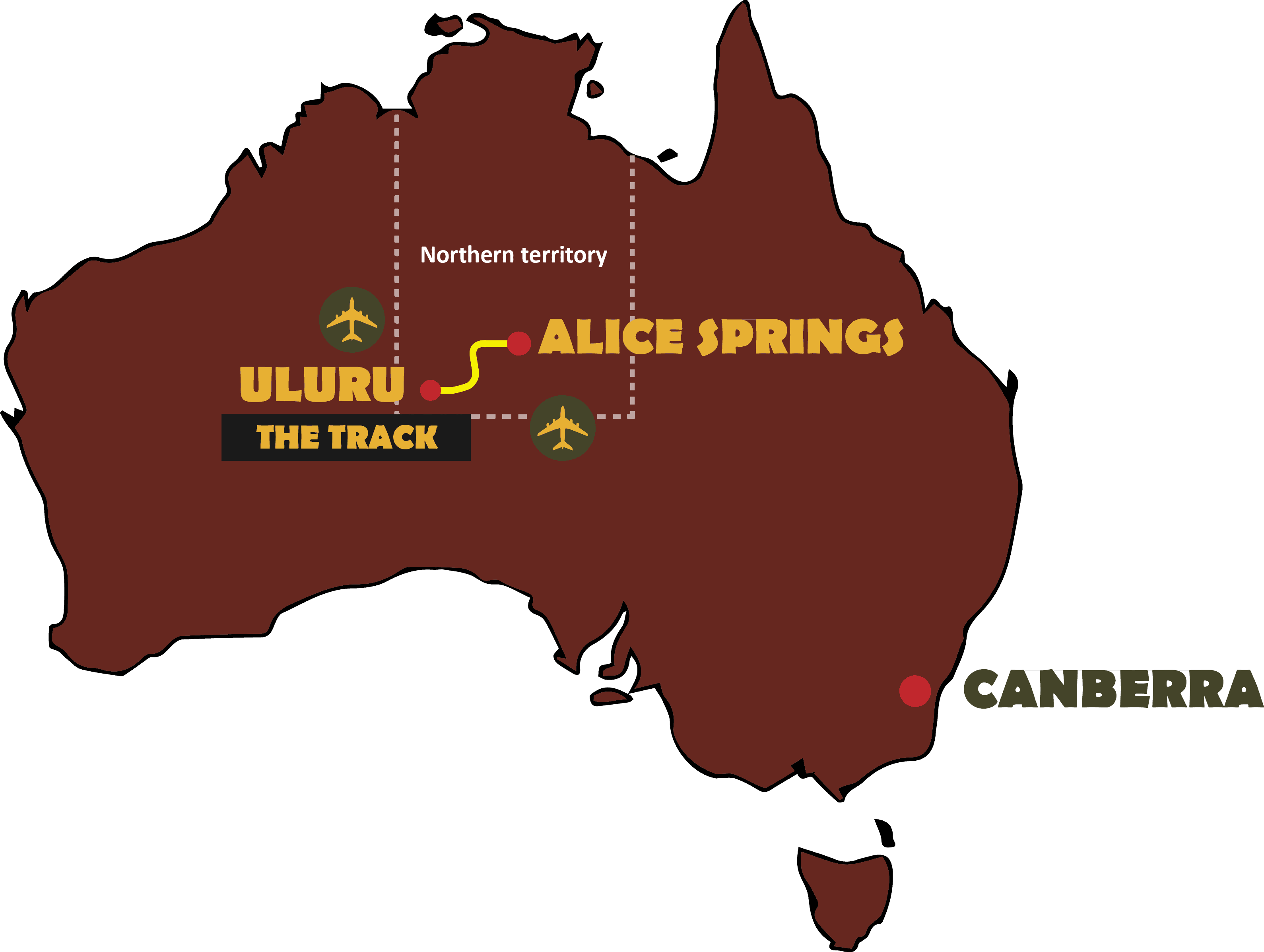 Carte Australie Ayers Rock.The Track Canal Aventure