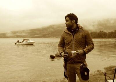 Maxime Paul sur un check-point dans les Alpes de Lyngen
